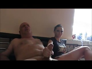 Old guy gets handjob on the bed