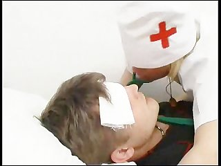 Nurse takes care of the patient