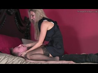 Femdom pantyhose feet worship Trampling spitting very hot