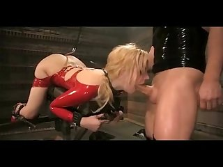 Blonde bdsm slave in red latex suit fucked hard warning extreme deepthroat