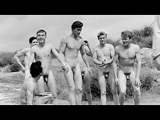 Vintage boys playing sports nude no sex