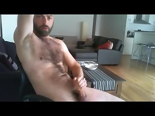 Hairy dude jacking and showing armpits