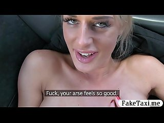 Booby amateur blonde gets her anal baged by fake driver