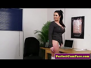 Busty british office babe spunked on after hj