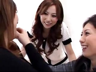 3 asian girls kissing sucking tongues at the desk