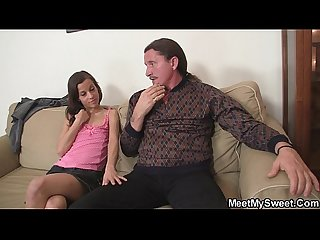 Hot girl seduces old dad into pussy licking
