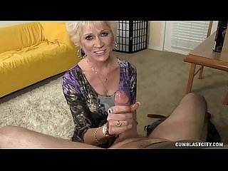 Hot mature tgirl sucks cock pov