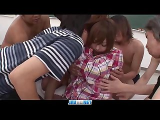 Subtitles - Japanese girl Miku Airi enjoys with many cocks