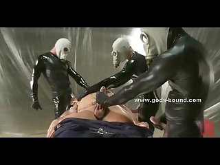 Masked men dressed in leather gay sex