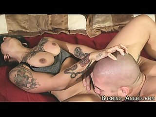 Tattooed whore gets oral
