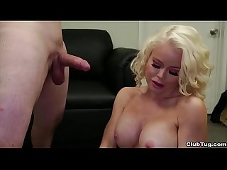 Ct horny milf jerks off a young dude