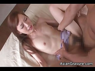 Cute asian babe wakes up for hard cock