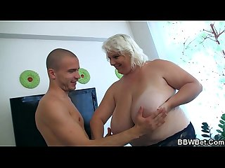 He calls huge boobs blonde for doggy banging