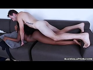 Hot black babe Noemie Bilas fucks a big white dick