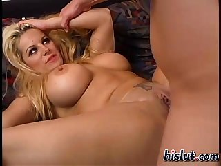 Busty bimbo rides a lucky guys dick