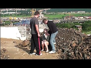 Yound blonde cutie fucked hard in public by 2 guys