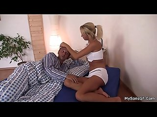 Granpa seduces son S blonde gf into cock riding