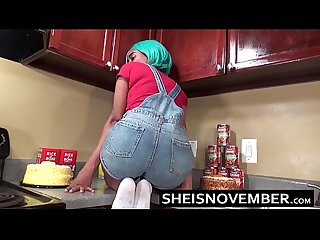 Ebony Step Sister Msnovember Is Fucked In Kitchen Hardcore Bro Sex & Blowjob POV