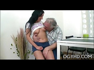 Young nympho licks old pecker