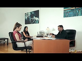 Teens pay back old boss by fucking him at the office in hardcore old young threesome