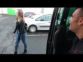 Takevan Shy blonde sales woman love Wendy Moon's tits & come fuck to driving van
