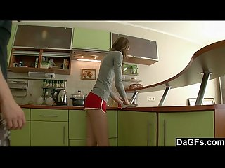 Skinny russian amateur fucked in the kitchen