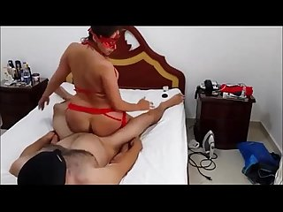 Masked wife rides on top of boss