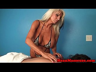 Mature monsterboobs masseuse tugs client