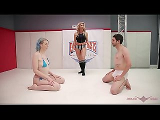 Mixed nude wrestling Lux Lives strapon fucks her loser opponent