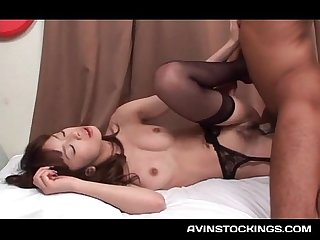 Japanese hottie in sexy stockings pussy smashed to strong orgasm