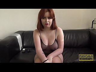 Redhead subslut rammed hard before having a taste of cum