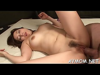 Tight oriental mamma pleasures herself