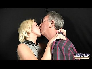 Nimphomaniac blonde teen fucks old man