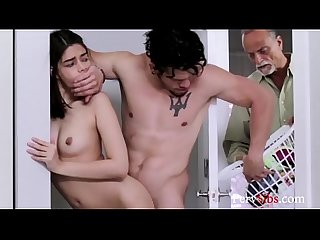 Skinny Brunette Sister Lets Brother Touch Her- Harmony Wonder