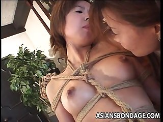 Bound japanese cutie fingered by a horny mistress