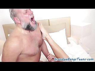 Teen beauty pleasured by lucky grandpa