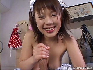 Awesome handjobs and blowjobs by this Jap cutie