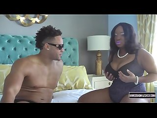 Thick ebony gets fucked and both of her titties sucked