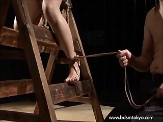 Wooden horse bondage and tit of japanese slave girl in the tokyo dungeon