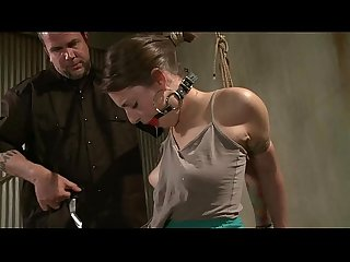 Hogtied and gagged bdsm whore getting whipped