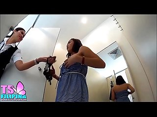 Ts filipina showing her tits in the mall fitting room