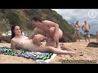 Dirty public aussie babe sucks cock