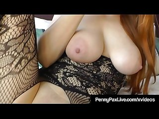 Oiled up busty redhead penny pax plugs her butthole pussy