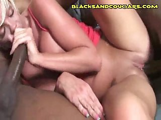 A kinky Blonde Cougar Goes Black