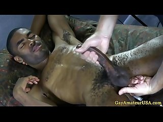 Amateur black guy takes a gay handjob