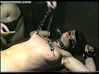 Amateur slave girl getting her nipples hurt
