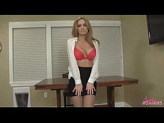 Hot blonde in pantyhose strips and masturbates
