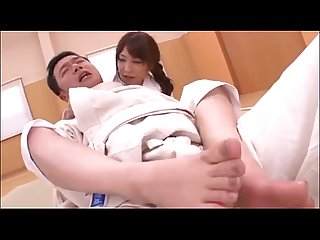 Japanese karate girl giving a footjob