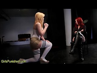 Spanked lesbo immobilized