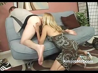 Hot blonde cougar gives her sons best friend a great rimjob